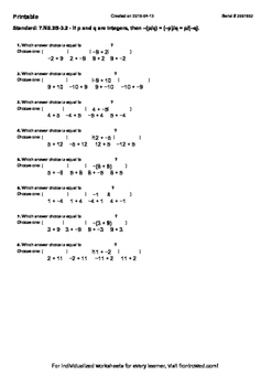 Worksheet for 7.NS.2B-3.2 - If p and q are integers, then