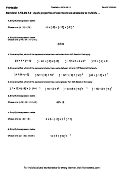 Worksheet for 7.NS.2C-1.0 - Apply properties of operations