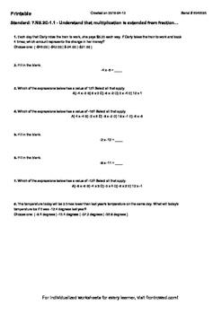 Worksheet for 7.NS.2C-1.1 - Understand that multiplication