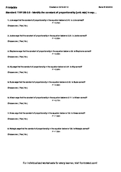 Worksheet for 7.RP.2B-3.0 - Identify the constant of propo