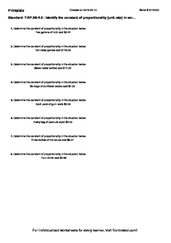 Worksheet for 7.RP.2B-4.0 - Identify the constant of propo
