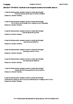 Worksheet for 7.RP.2B-4.2 - Students must recognize consta