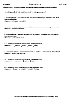 Worksheet for 7.RP.2B-5.1 - Students must know how to comp