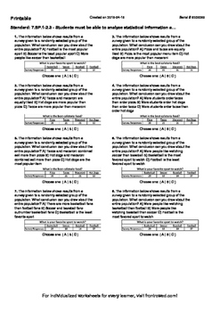 Worksheet for 7.SP.1-2.3 - Students must be able to analyz