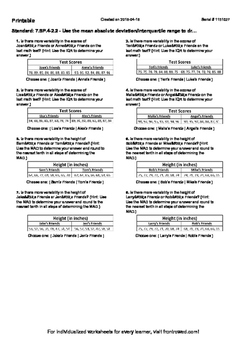 Worksheets Interquartile Range Worksheet worksheet for 7 sp 4 2 use the mean by front row education absolute deviation