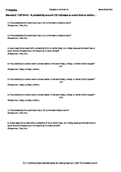 Worksheet for 7.SP.5-4.0 - A probability around 1 2 indica