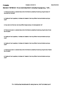Worksheet for 7.SP.8B-2.0 - For an event described in ever