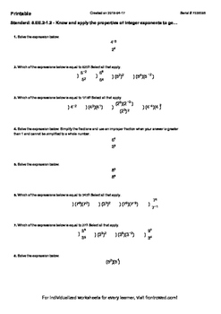 Worksheet for 8.EE.2-1.2 - Know and apply the properties o