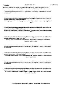 Worksheet for 8.EE.5-1.0 - Graph proportional relationship