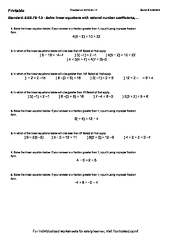 Worksheet for 8.EE.7B-1.0 - Solve linear equations with ra