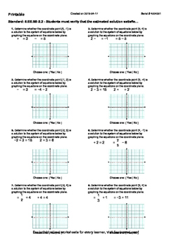 Worksheet for 8.EE.8B-2.2 - Students must verify that the