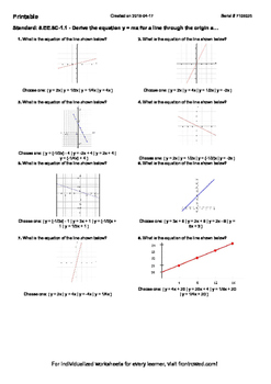 Worksheet for 8.EE.8C-1.1 - Derive the equation y = mx for