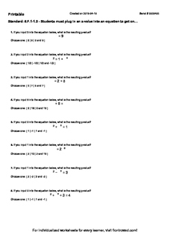 Worksheet for 8.F.1-1.2 - Students must plug in an x-value