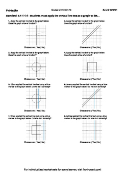 Worksheet for 8.F.1-1.4 - Students must apply the vertical