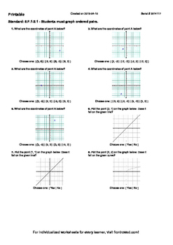 Worksheet for 8.F.1-2.1 - Students must graph ordered pairs.