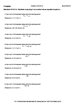 Worksheet for 8.F.2-1.3 - Students must plug in an x-value