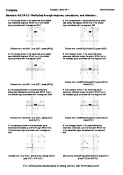 Worksheet for 8.G.1A-1.0 - Verify that through rotations,
