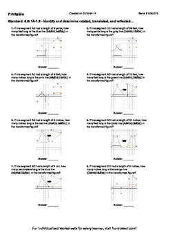 Worksheet for 8.G.1A-1.2 - Identify and determine rotated,
