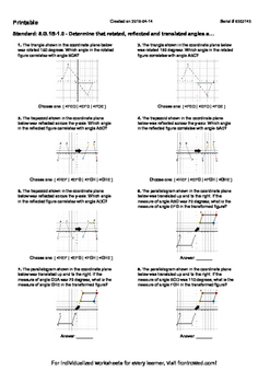 Worksheet for 8.G.1B-1.0 - Determine that rotated, reflect