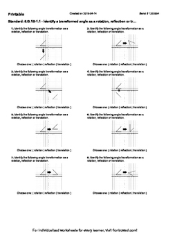 Worksheet for 8.G.1B-1.1 - Identify a transformed angle as
