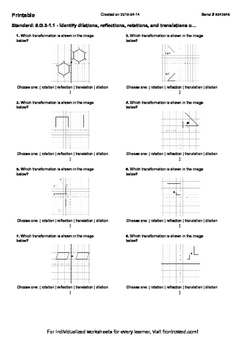 Worksheet for 8.G.3-1.1 - Identify dilations, reflections,