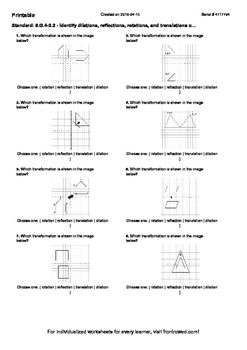 Worksheet for 8.G.4-2.2 - Identify dilations, reflections,