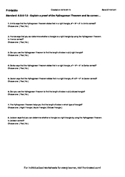 Worksheet for 8.G.6-1.0 - Explain a proof of the Pythagore