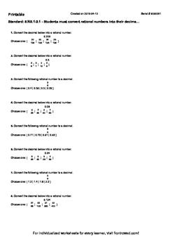 Worksheet for 8.NS.1-2.1 - Students must convert rational