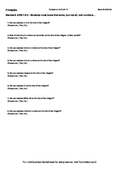 Worksheet for 8.NS.1-2.3 - Students must know that some, b