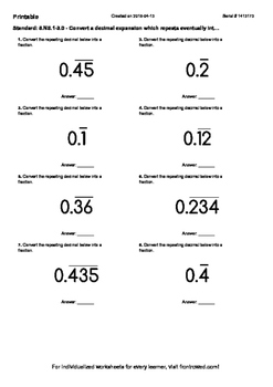 Worksheet for 8.NS.1-3.0 - Convert a decimal expansion whi