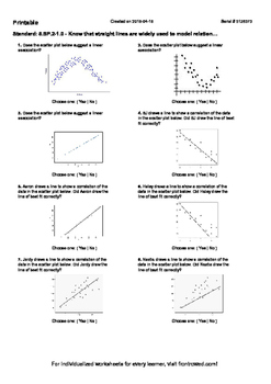 Worksheet for 8.SP.2-1.0 - Know that straight lines are wi