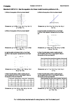 Worksheet for 8.SP.3-1.0 - Use the equation of a linear mo