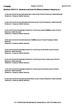 Worksheet for 8.SP.4-1.2 - Students must know the differen