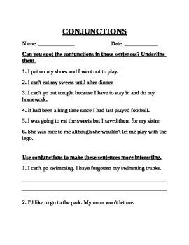 Worksheet for Conjunction