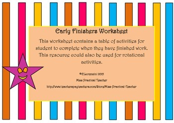 Worksheet for Early Finishers