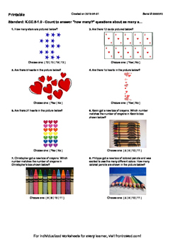 Worksheet for K.CC.5-1.0 - Count to answer how many questi