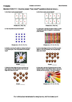 """Worksheet for K.CC.7-1.1 - Count to answer """"how many"""" ques"""