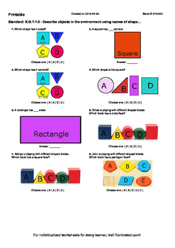 Worksheet for K.G.1-1.0 - Describe objects in the environm