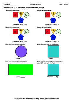 Worksheet for K.G.1-1.1 - Identify the number of sides in a shape
