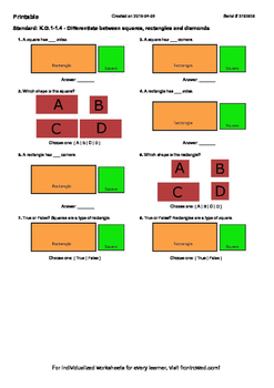 Worksheet for K.G.1-1.4 - Differentiate between squares, r