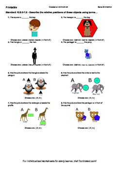 Worksheet for K.G.2-1.2 - Describe the relative positions