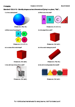 Worksheet for K.G.3-1.0 - Identify shapes as two-dimension