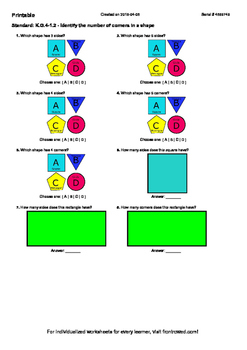 Worksheet for K.G.4-1.2 - Identify the number of corners i