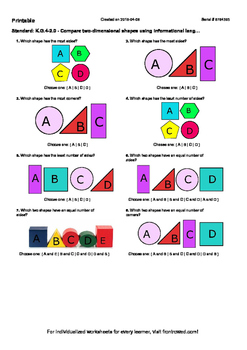Worksheet for K.G.4-2.0 - Compare two-dimensional shapes u