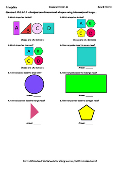 Worksheet for K.G.5-1.1 - Analyze two-dimensional shapes u