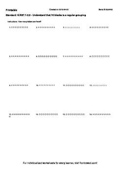 Worksheet for K.NBT.1-2.2 - Understand that 10 blocks is a