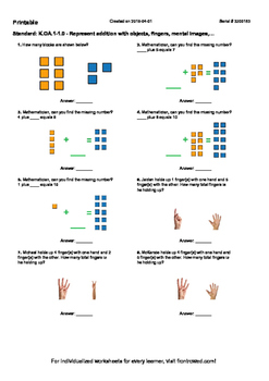 Worksheet for K.OA.1-1.0 - Represent addition with objects