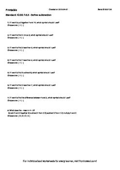 Worksheet for K.OA.1-2.2 - Define subtraction