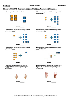 Worksheet for K.OA.4-1.2 - Represent addition with objects