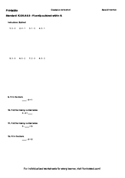 Worksheet for K.OA.5-2.0 - Fluently subtract within 5